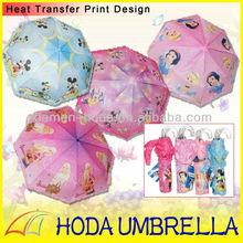 cartoon children foldable umbrella with curve transparent handle
