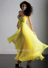 Zipper Back Strapless Evening Gown Beaded Chiffon Yellow Prom Dress