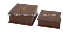 2013 New Cheap Fleur De Lis Brown Wood Faux Leather Box Storage Hat Box