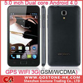 5.0 pollici 3g smart phone gsm/wcdma dual core android 4.0.4 gps wifi cellulare