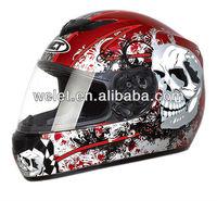 DOT Full face helmet WLT-101 Red/Skull 3#