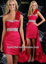 Red taffeta ruffle beaded front short and long train prom dresses