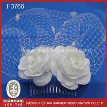 F0766 Beautiful Bridal Headpiece with Lovely Flowers for Wedding