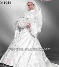 hermoso de cuentas bola de manga larga blanco vestido de novia vestidos de turquía estambul