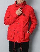 Stylish sollid color pockets hoody jacket coat for men