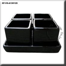 black ceramic plant pot set