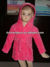 100% algodão terry rosa crianças kimono robes com anmail bordado