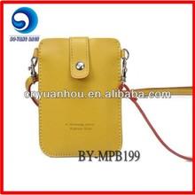 Yellow PU Shoulder Strap Mobile Phone Bag Phone Case
