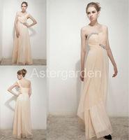 astergarden new styles column one shoulder floor-length pleat chiffon beading evening dresses AS255