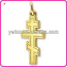 Meaningful polished 2 Dimensional Three Bar Greek Cross charm jewelry (H104061-1)