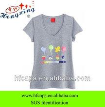 Fashion custom women printing v-neck short sleeve T-shirt
