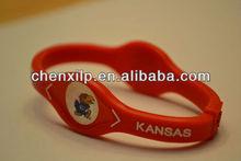 Kansas Jayhawks Rock Chalk KU College Sports Bracelet Band Wristband NIB Crimson