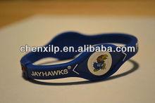 Kansas Jayhawks Rock Chalk KU College Silicone Sports Bracelet Band Wristband NIB Blue Zen-ergy Bandz