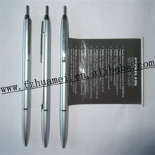 silver color plastic ballpoint pen/ banner pen/flag pen for advertising and promotion