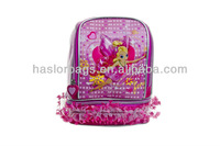 Pink Color Satin Fabric School Bag Lunch Bag for Girls