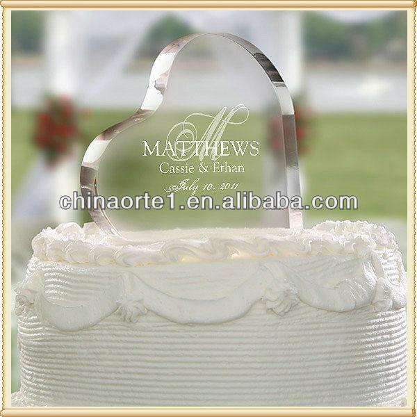 elegante cristal coração bolo de acessórios para decoração de casamento