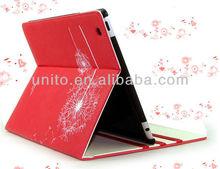 Dandelion design Stand Folio leather case for ipad 4 3 2