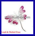 Argent plaqué / forme animale / rose cristal réglage / libellule / broche bijoux
