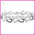 plata 1ct tdw diamante negro y blanco b103153 pulsera