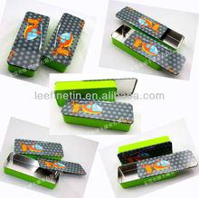 big rectangular tin box with slide lid