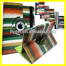 Hybrid Leather Case for iPad 4 Smart Cover Multi-Color Striped Design