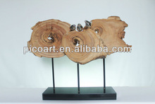 High grade Crafted Wooden Sculpture With Plated Bird