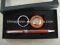 Fijos y de negocios set de regalo hecho a mano los proveedores promocional personalizado logotipo de la pluma de madera& llavero titular de set de regalo