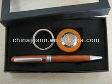 stationary business gift set suppliers handmade promotional customized logo pen & wooden keychain holder gift set