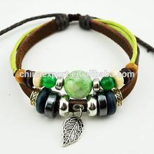 Natural Green Bead Genuine Leather Wrap Bracelet ASL-022