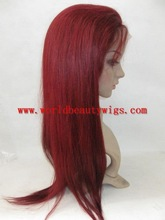 red color malaysian hair full lace wig with baby hair around