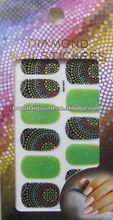 3D Diamond Glitter Nail Sticker Green Dots PVC Nail Decor New 5.4x9.3cm