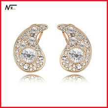 Free Shipping Gold Plated Musical Note Crystal Stud Earrings(MT13030132)