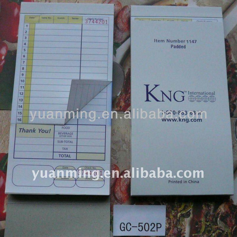 restaurant order pads template .
