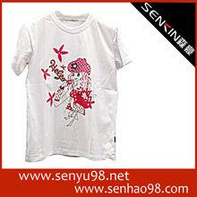 2012 Women's black 100% cotton printing fashion t-shirt