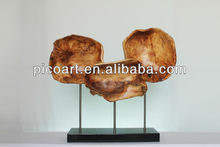 Newly Group Crafted Wooden Sculpture With Plated Bird