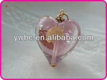 charm jewelry pink heart glass murano