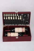Stainless steel bar set/wooden wine box with chess
