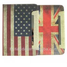 USA Flag Retro stand pu leather case for ipad mini