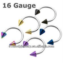 16 gauge stainless steel piercing horseshoe lip rings