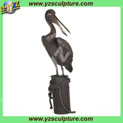 Bronze life-size animal sculpture of pelican BASN-D069