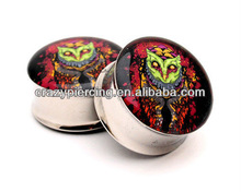 cool unique reaper owl logo stainless steel jewelry ear piercing plugs and flesh ear tunnel without foam body jewelry piercing