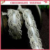 2013 Guangzhou manufacturer new design crochet edging narrow cotton torchon trim lace 1.80cm, with tape inside ,edging,bag