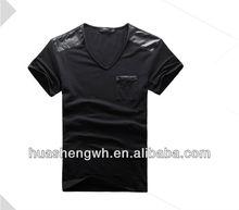 black Slim spandex fitted T-Shirt leather shoulder