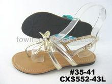 Golden stylish flat sandals with backstraps (CXS552-43L)