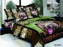 Big bear 3d animal reactive dyes bed in a bag comforter set