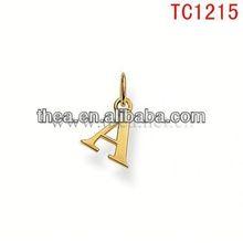 TC1215 gold mental alphabet A anti-zinc pendant&charm original design pendant