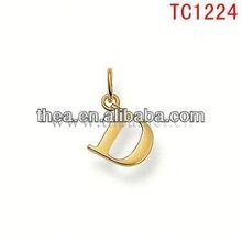 TC1224 gold alphabet D design pendant&charm cheapest price wholesale on hot sale