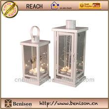 Metal and Glass Lantern, White, Set of 2