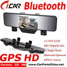 Hot selling HD 1080p, Bluetooth Handfree Call, Mirror GPS Hidden Camera In Car Mirror