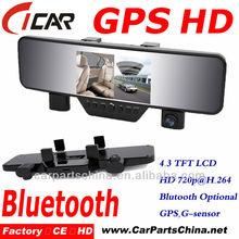 Hot selling, Bluetooth Handfree Call, Gps 2 Lens Mirror Full Hd 1080P Car Camera Dvr Video Recorder